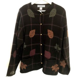 Ladies Heavy Weight Button Up Fall Sweater Size L